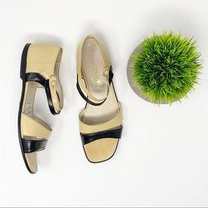 Chanel Black and Tan Button Sandals Sz 7.5